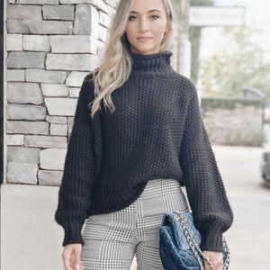 H&M black knitted turtleneck balloon sweater